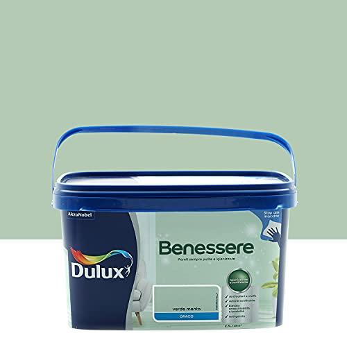 Dulux Benessere Pittura Colorata all'Acqua per Interni Superlavabile Anti Muffa Anti Batteri con Ioni D'Argento, 2.5 Litri, Verde Menta