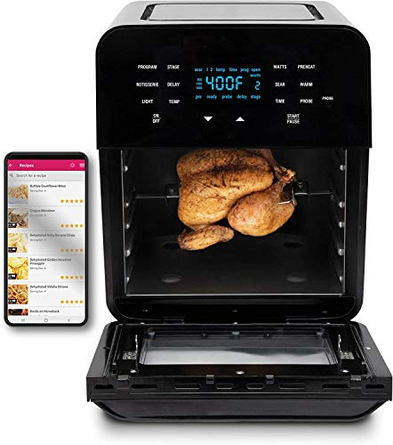 NUWAVE BRIO 14-Quart Large Capacity Air Fryer Oven with Digital Touch Screen Controls and Integrated Digital Temperature Probe; 3 Heavy-Duty NEVER-RUST Stainless Steel Mesh Racks .Great for Multi-Level Family Meals; Drip Tray; Rotisserie Kit Includes Skewers and Basket; Non-Stick Grill Plate for Indoor Grilling; Roasting Drum for Perfect Popcorn; 100 Programmed Presets and the Ability to Store and Recall Your Own Programs; 1800 Watts w/ Adjustable Wattage Control - 900, 1500 & 1800; Advanced Fun