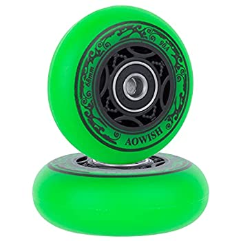AOWISH 2-Pack Mini Ripstik Wheels 68mm Ripster Wheels 90A Ripstick DLX Mini Caster Board Replacement Wheel with Bearings ABEC-9  Green