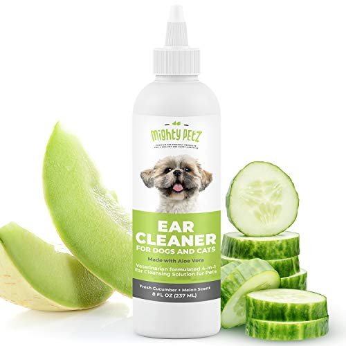 4-in-1 Dog Ear Cleaner - Vet Formulated Cleansing Solution + Aloe Vera for Removing Wax, Debris & Odor in Pets. Supports Infection Prone Ears & Reduces Head Shaking. Fresh Cucumber and Melon, 8 oz