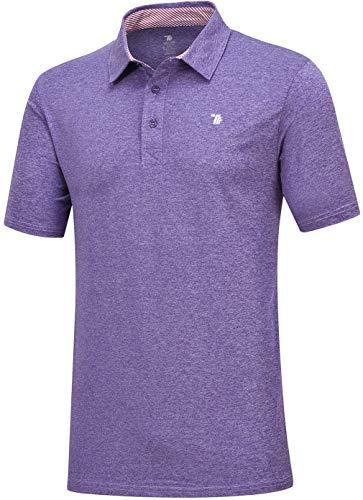 MoFiz Men's Golf Shirt Athletic Polo Shirt Rapid Dry Golf Polo Shirt Athletic Sport Tee (M,Purple)