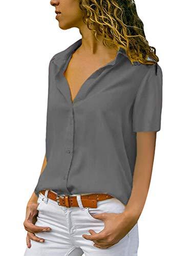 Minetom Damen Chiffon Kurzarm Blusen V Ausschnitt Mode T-Shirt Oberteile Elegant Hemd Top Einfarbig Kurzarm Bluse Casual Sommer Knopf Tunika Grau 38