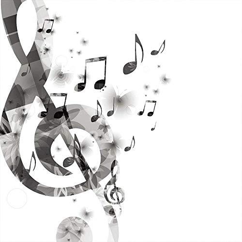 LHAOSIX juego de funda nórdica para cama doble Impresión digital 3D Juego de edredón con cierre de cremallera Suave transpirable 3 piezas Sencillez, moda, música, símbolo 260x220cm con cierre de crema