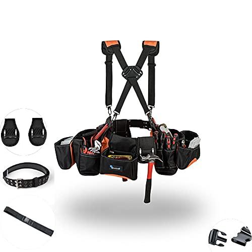Tool Belt for Men,Premium Tool Pouch for Carpenters Tools,Construction Tools, Roofing belt– Innovative Suspender,poly web waist belt,2 Hammer Holder,Tool Belt with Suspenders(ORANGE)…