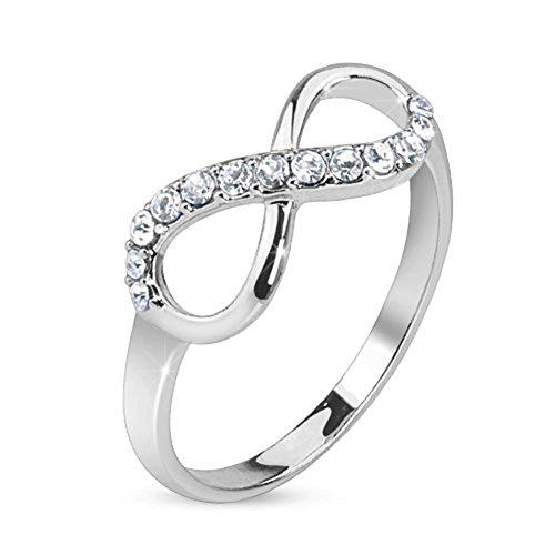 beyoutifulthings, anello con simbolo dell'infinito, con zirconia, in acciaio chirurgico 316L, anello di fidanzamento e argento, 50 (15.9), colore: argento, cod. R-B001-06