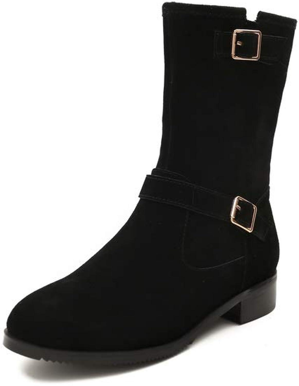 AdeeSu Womens Nubuck Buckle Solid Urethane Boots SXE04572