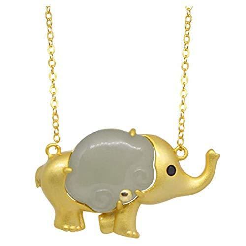 Collar De Elefante De Jade, JoyeríA, Collar con Colgante De Elefante, Amuleto De JoyeríA De Moda Tallada A Un Lado para Hombres, Mujeres, Regalos para Collar, Amor De Pareja