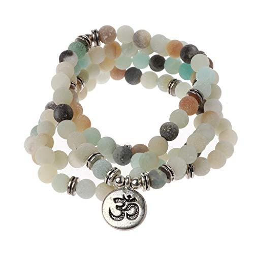 Gergxi Mala Amazonita 108 Collar de Cuentas para Yoga Budista Rosario Pulsera con dijes de oración