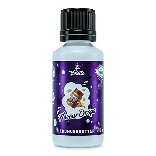 Flavour Drops 30ml by Violetta   Vegan   Zuckerfrei   Kalorienfrei   Lebensmittelaroma-Tropfen für Wasser, Getränke, Quark, Joghurt sowie kochen und backen   Erdnussbutter