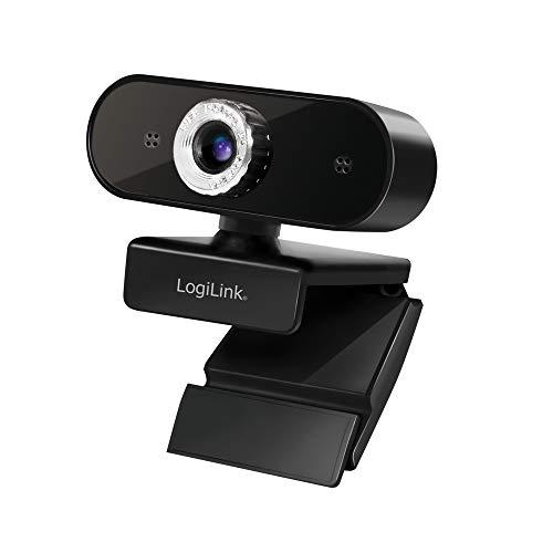 LogiLink UA0371 Webcam USB Full HD avec Microphone pour des appels vidéo Nets sur Skype/Google Meet/FaceTime/FB Messenger etc.