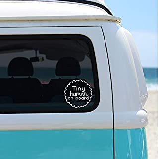 Tiny Human on Board Car Decal, Baby on Board Vinyl Decal Sticker, White 4 inches
