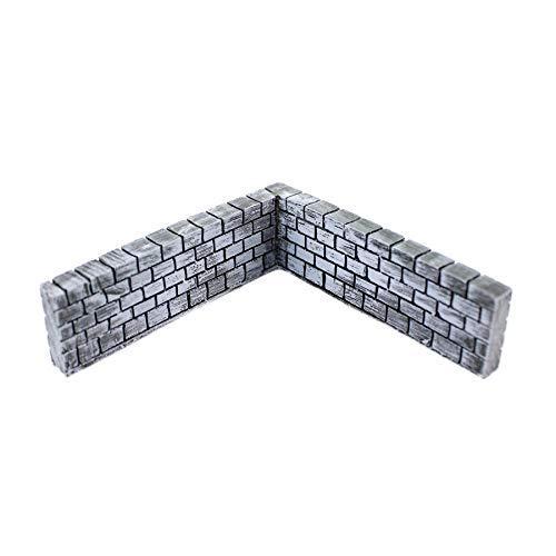 War World Gaming Betonmauer Eckteil Vorbemalt x 4-20 - 28 mm Tabletop Gelände Modell Miniaturen Diorama Modellbau Miniatur Zaun Mauer Landschaftsbau Landschaft Geländbau