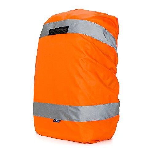High Vis Waterproof Backpack Rucksack Cover Bag Rain Cover with Reflective Strip for Cycling, Running, Hiking (20-40L, Orange)