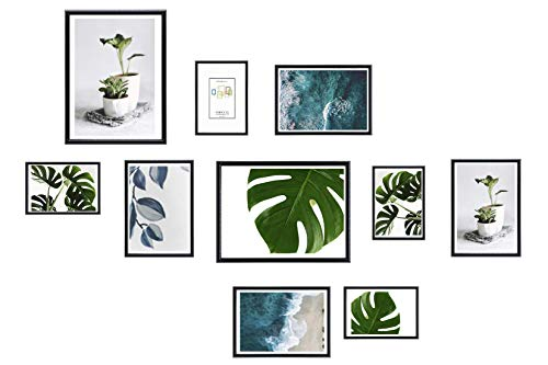 Chely Intermarket, Marcos multifotos Pared (Negro) Set de 10 Marcos Mod-312 (13x18(x4)-15x20cm(x4)-20x25cm(x2)). Portafotos de PVC con Cristal Vidrio.