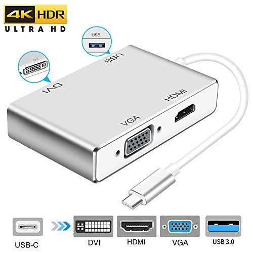 weton Adattatore da USB C a HDMI 4K, 4-in-1 USB 3.1 Tipo C a HDMI VGA DVI USB 3.0 (Compatibile Thunderbolt 3) Multiporta Adattatore USB C HUB per MacBook PRO/Chromebook Pixel/Samsung S8 / S8 Plus