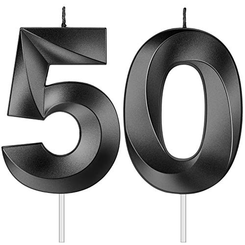 BBTO 2 Pieces 4 Inch Gold 50th Birthday Candles, 3D Diamond Shape Number 50 Candles Cake Topper Numeral Candles Cake Topper for Birthday Anniversary Party Decorations (Black)