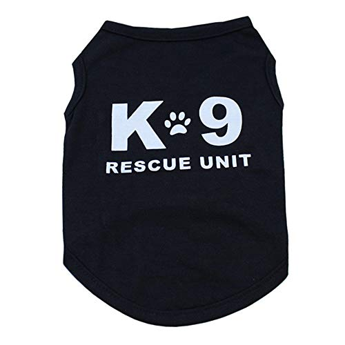 Alroman Dogs K9 Shirts Black Vest Canine Clothing for Dogs Cats Tee L Dog Vacation Shirt Male Dog Clothing Puppy Summer Clothes Boy Polyester Shirt Dog Cat Pet Small Clothes Vest T-Shirt Apparel