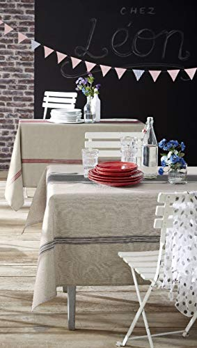 Tradilinge ~ Tafelkleed Bistrot antraciet polyester bedrukt ecru/grijze lijnen 170x170