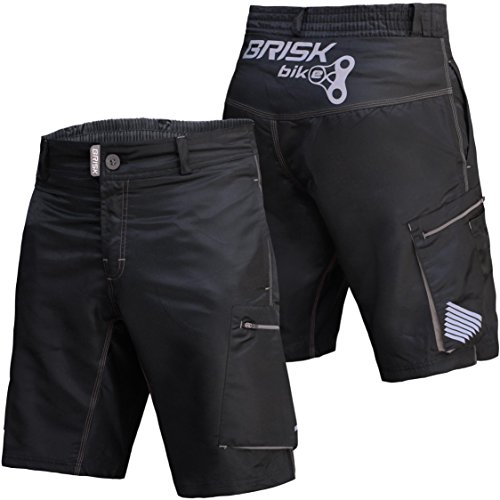 Brisk Bike MTB Men Cycling Shorts including Inner Padded Compression Shorts (Black/Grey, X-Large)