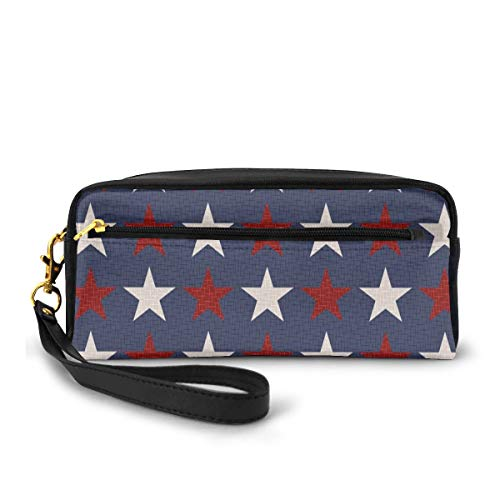 Pencil Case Pen Bag Pouch Stationary,Symmetric Stars United States Independence Freedom Theme Print,Small Makeup Bag Coin Purse