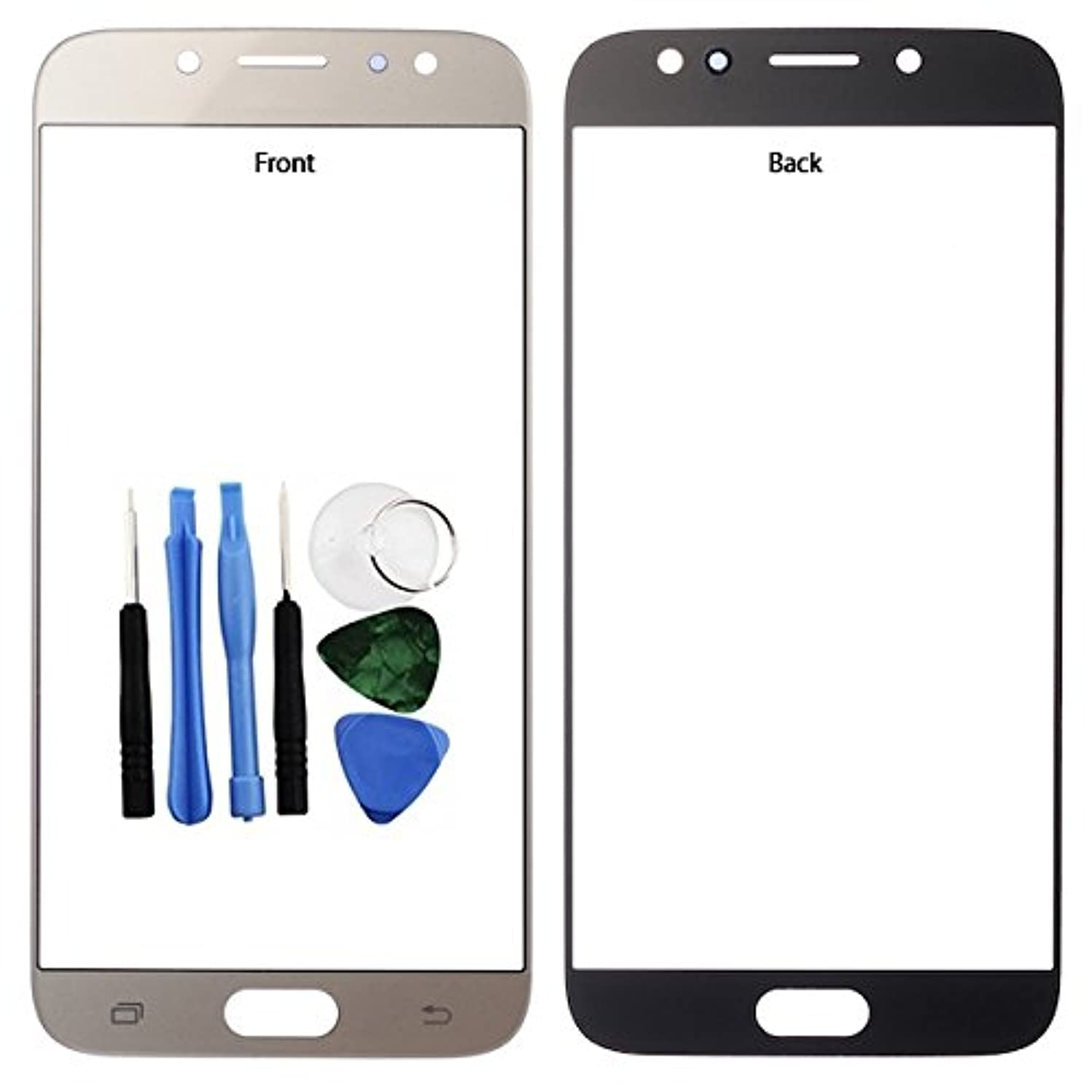 BisLinks for Samsung Galaxy J7 J7 Pro 2017 Front Outer Glass Screen Lens Gold J730 Tools Replacement Part