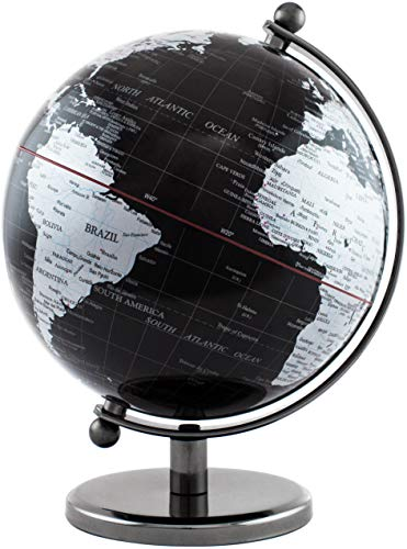 Brubaker Designer Globus Dark Planet Edelstahl - Schwarz Silber