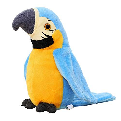 Weesey Sprechender Plüschvogel Papagei Vogel mit Aufnahme und Wiedergabefunktion, Plüschtiere Kuscheltiere Spielzeug Jungen und Mädchen