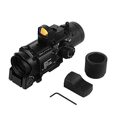 AJDGL Alcance táctico 1x-4x Ajustable de Doble propósito con Mini Visor de Punto Rojo Montaje Desmontable rápido para Disparos de Caza con Rifle