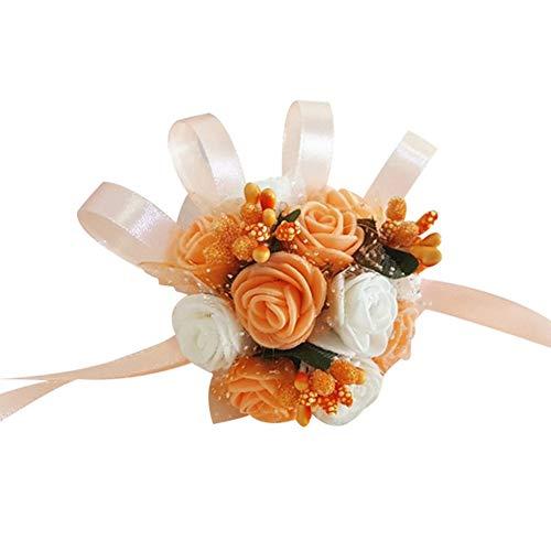 topxingch bruiloft decoratie bloem armband bruidsmeisje zusters hand bloem pols corsage bruiloft partij accessoires oranje wit