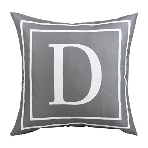 Fascidorm Gray Pillow Cover English Alphabet D Throw Pillow Case Modern Cushion Cover Square Pillowcase Decoration for Sofa Bed Chair Car 18 x 18 Inch