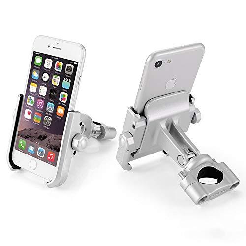 Supporto Smartphone Universale Moto Manubrio Ruotabile in Alluminio per Motociclo Motorino Scooter per Cellulare Navigatore GPS (MANUBRIO Argento)