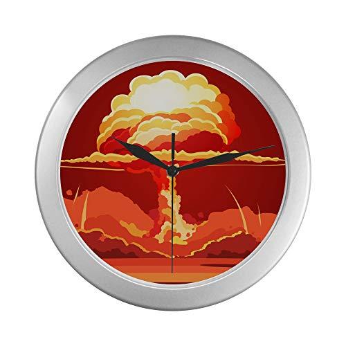 JOCHUAN Wanduhren für Teenager-Mädchen Nukleare Explosion Rising Orange Fireball Atomic Wandbatterie Uhr 9,65 Zoll Silber Quarzrahmen Dekor für Büro/Schule/Küche/Wohnzimmer/Schlafzimmer