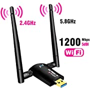USB WiFi Adapter 1200Mbps,USB 3.0 Wireless Network Adapter WiFi Dongle for PC Desktop Laptop with Dual Band 2.4GHz/300Mbps 5GHz/867Mbps,Support Windows10/8/8.1/7/Vista/XP/2000,Mac OS 10.6-10.15