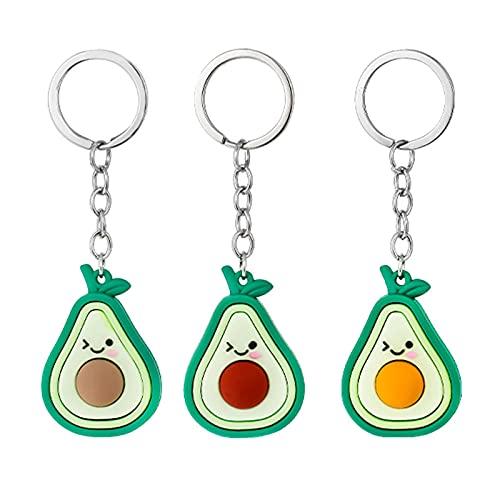 JKDFGJ 3 piezas pegamento suave expresión linda fruta de dibujos animados llavero colgante pareja aguacate pequeño regalo combinación de moda llavero 11 cm