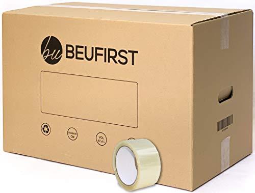 Beufirst Pack de 10 Cajas de Cartón con Asas 550x350x350mm, y Cinta Adhesiva Cajas para Mudanza, Envíos, Almacenaje y Transporte
