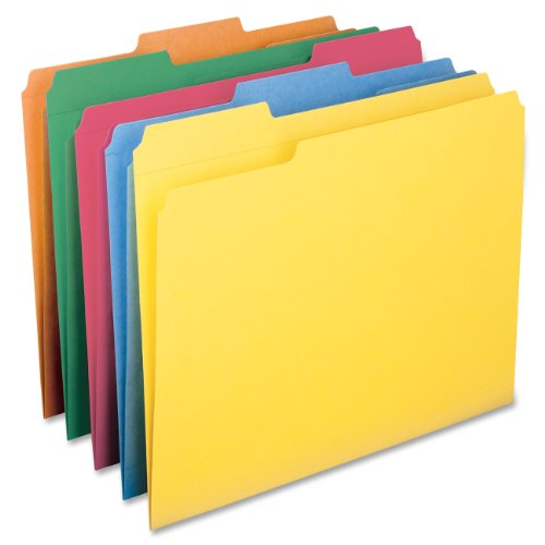 Smead File Folder, Reinforced 1/3-Cut Tab, Letter Size, Assorted Colors, 100 per Box (11993)