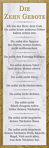 empireposter Die 10 Gebote - Weiß - Religion Inspirations Slim Poster - Größe 30,5x91,5 cm + Wechselrahmen, Shinsuke® Slim MDF Eiche, Acryl-Scheibe