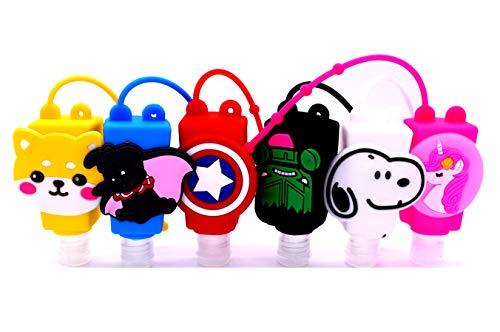 Pack of 6 Cute Cartoon Kids Hand Sanitiser/Hand Gel Portable Travel Keyring...