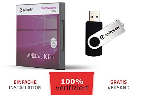 Windows 10 Professional Aktivierungsschlüssel - mit USB-Stick von EXITOSOFT - 32/64Bit - Deutsch - 100% verifiziert deutsche Ware - bootfähig - mit AUDIT Zertifikat - PRO