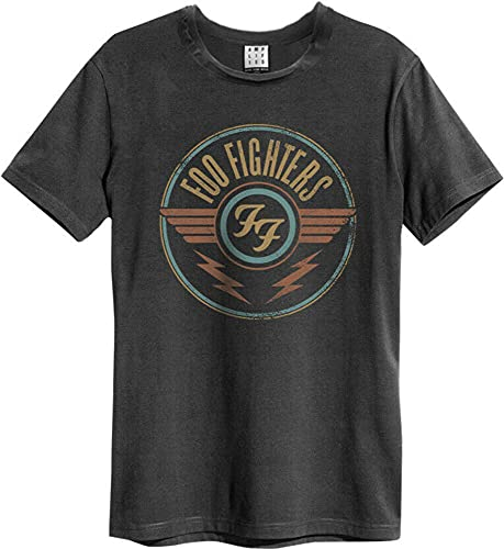 Amplified Foo Fighters-FF Air Camiseta, Gris (Charcoal CC), L para Hombre