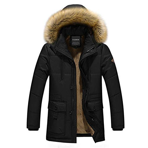 Men's Winter Jacket Thick Fleece Warm Coat Men Fur Hooded Collar Large Size Parka Windbreaker Black 4XL