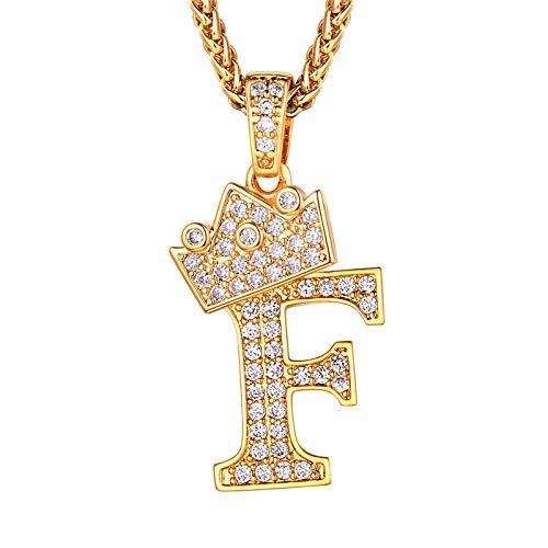 Richsteel Colgante Inicial f Colgante Letras Mujer Dorado Collar con Letras Oro Brillante Regalo para Hombre
