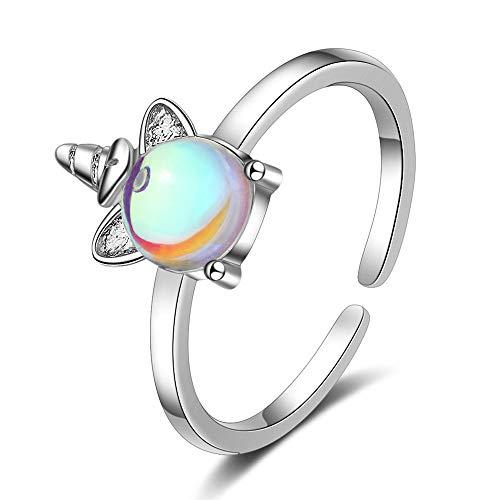 Chandler - Anillo de plata con diseño de unicornio con piedra lunar para mujeres y niñas, colorido regalo de cumpleaños o San Valentín