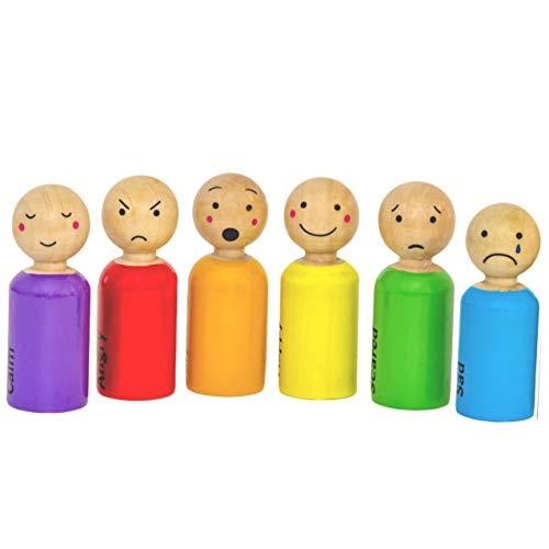 My Felt Story, 6 Peg Dolls, Feelings/Emotions Rainbow Wood, Montessori Reggio Preschool People Figures