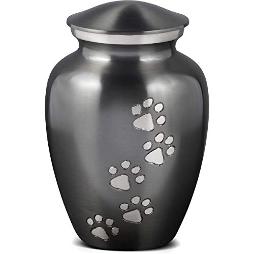 Best Friend Services Pet Urn - Ottillie Paws Memorial Pet Cremation Urns for Dogs and Cats Ashes Hand Carved Brass Memory Keepsake Urn (Slate, Vertical, Pewter, Medium)