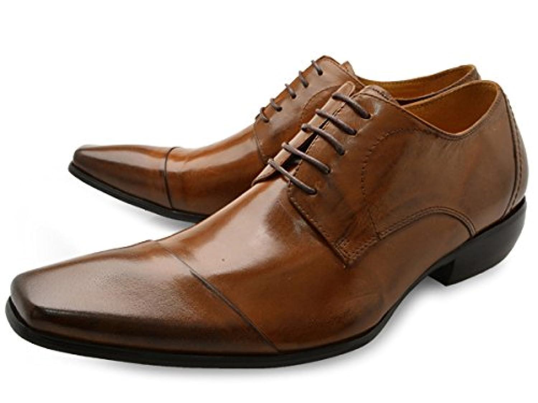 [ バンプ アンド グラインド ] Bump N' GRIND bg-4000 ロングノーズ ビジネスシューズ 外羽根 紐タイプ メンズ [ 茶 ブラウン 本革 レザー ] BROWN LEATHER 革靴 紳士靴 ドレスシューズ
