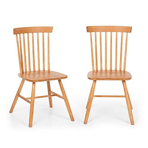 Besoa Fynn par de sillas – Madera de Haya, diseño Windsor, se Adapta Bien a la Mesa de Vidrio Nilsson de Besoa, Madera