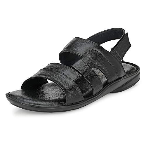 Nubeno Men's Black Leather Outdoor Sandals-8 UK (42 EU) (1452)