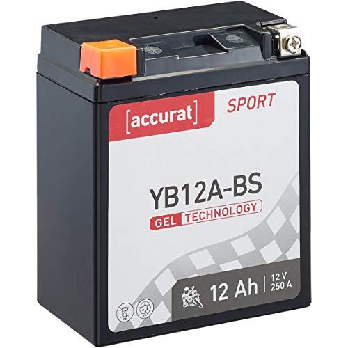 Accurat Motorradbatterie Sport YB12A-BS 12 Ah 250 A 12V Gel Technologie Starterbatterie in Erstausrüsterqualität zyklenfest sicher lagerfähig wartungsfrei