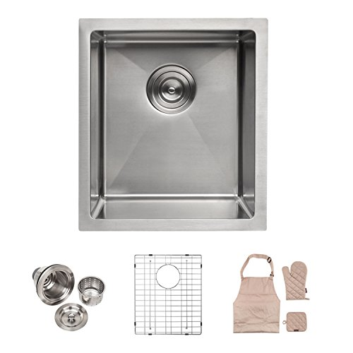 LORDEAR Commercial 15 Inch 16 Gauge 10 Inch Deep Small Drop In Undermout Stainless Steel Single Bowl Kitchen Sink, Brushed Nickel Single Bar Sink